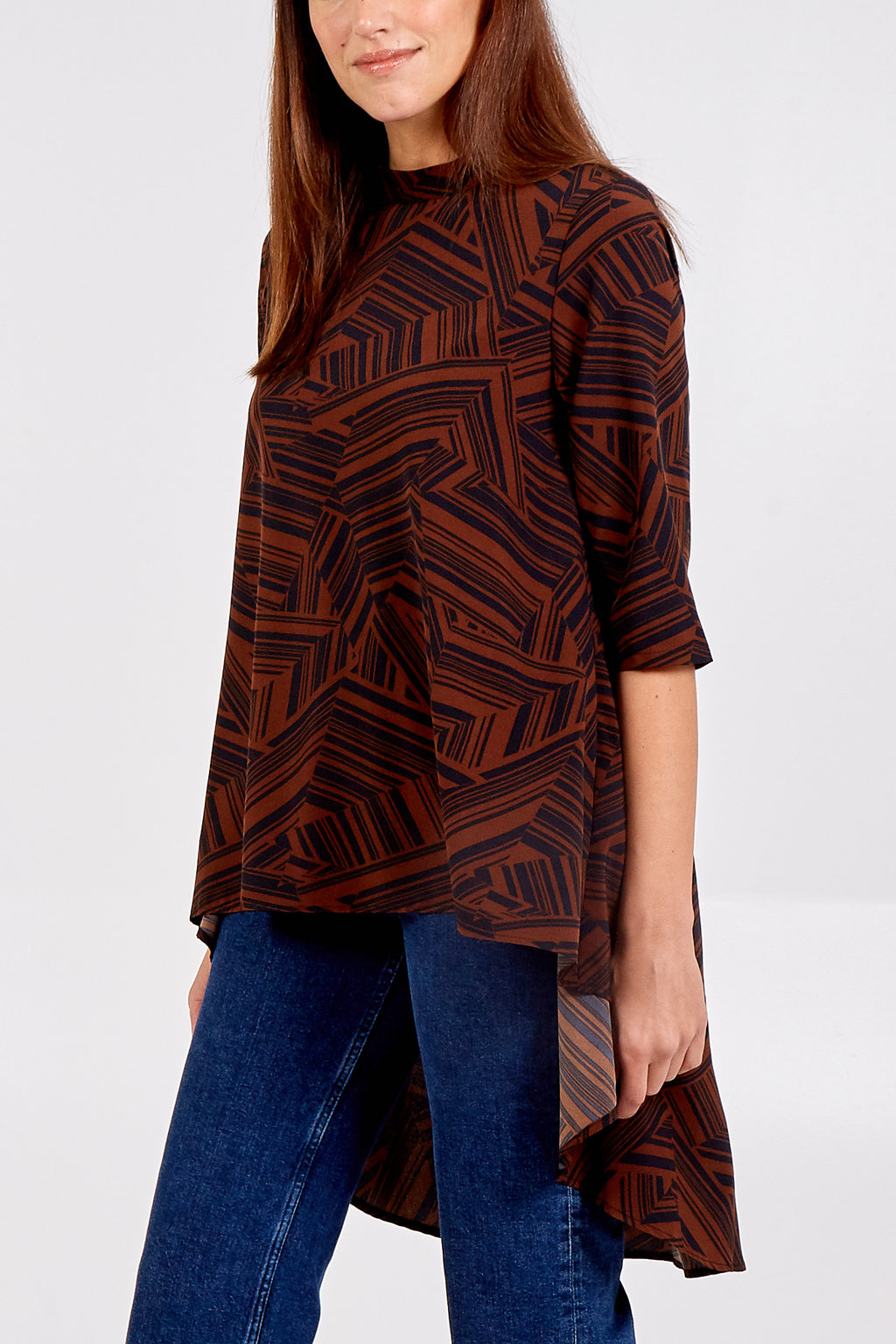 Geometric Print High Low Top