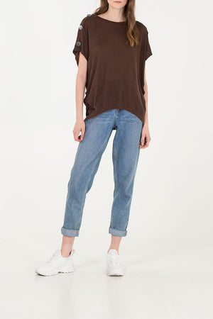 Button Shoulder Detail Oversized top