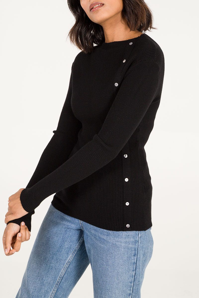 Rib Button Detail Top