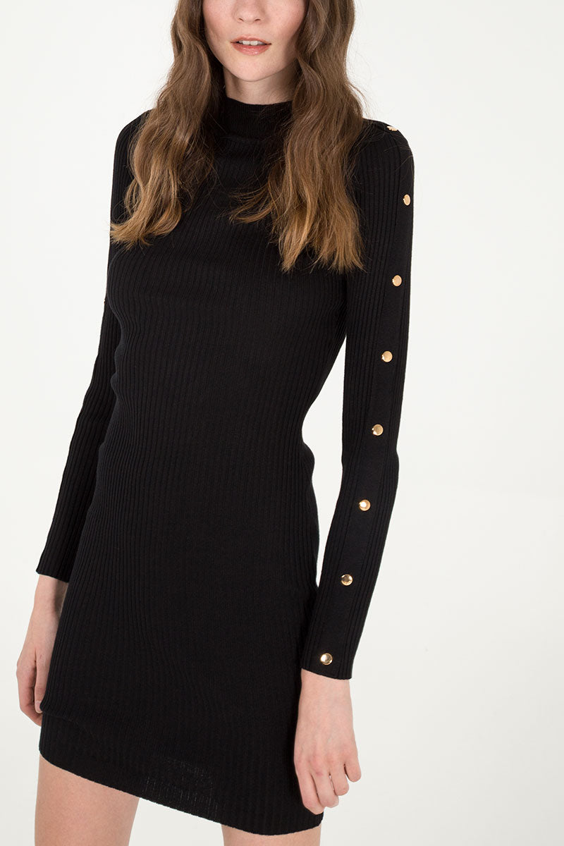 Button Sleeve Rib Dress