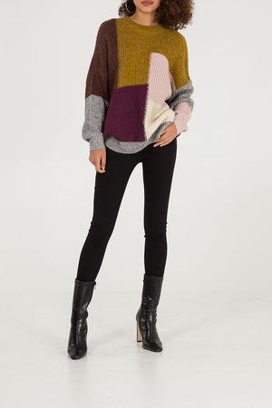 Patchwork Crew Neck Jumper