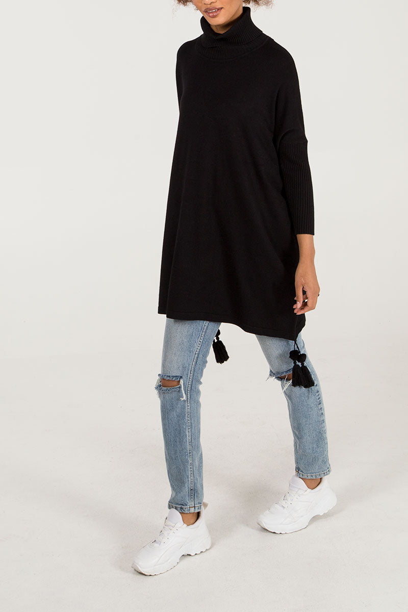 Roll Neck Tassel Trim Poncho