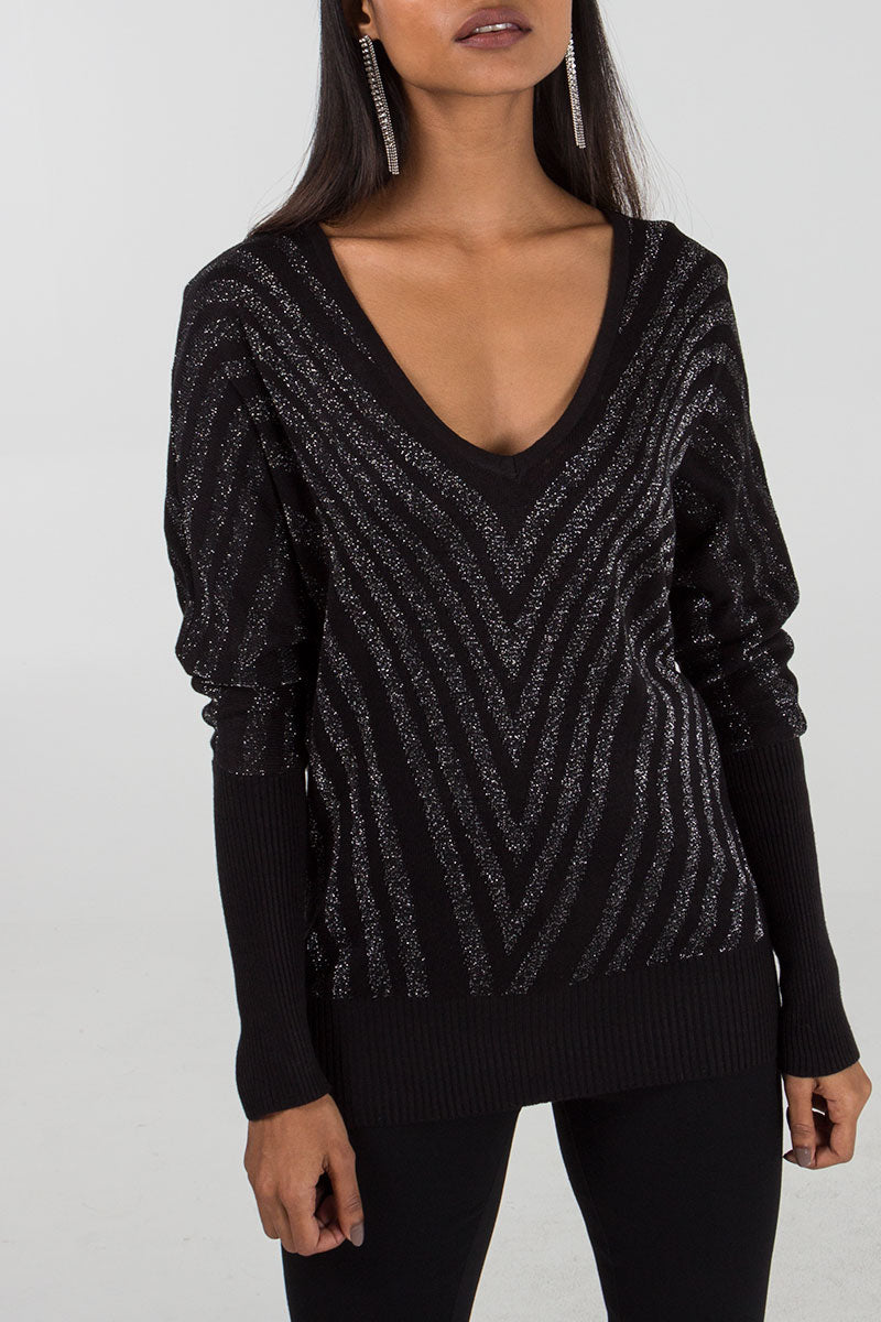 Lurex Chevron Jumper