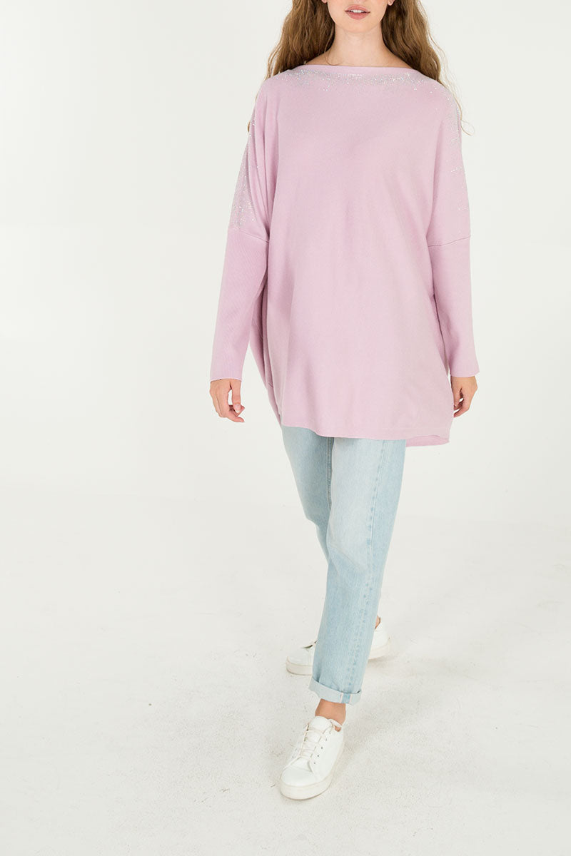 Diamante Detail Oversized Batwing Top