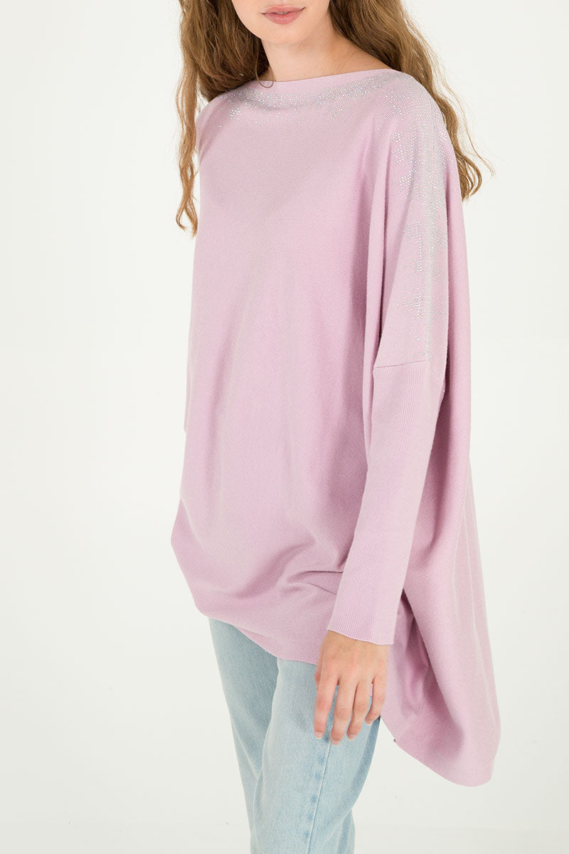 Diamante Detail Oversized Batwing Jumper