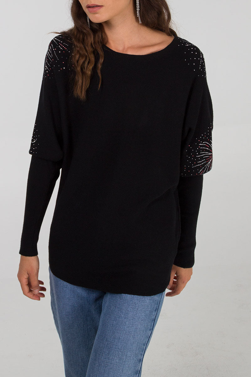 Firework Shaped Gem Detail Batwing Jumper