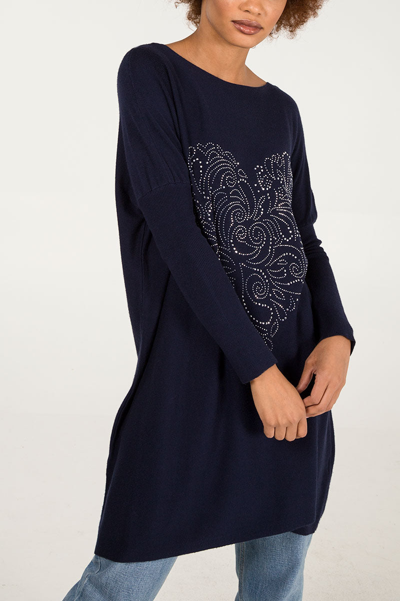 Heart Patterned Gem Batwing Top