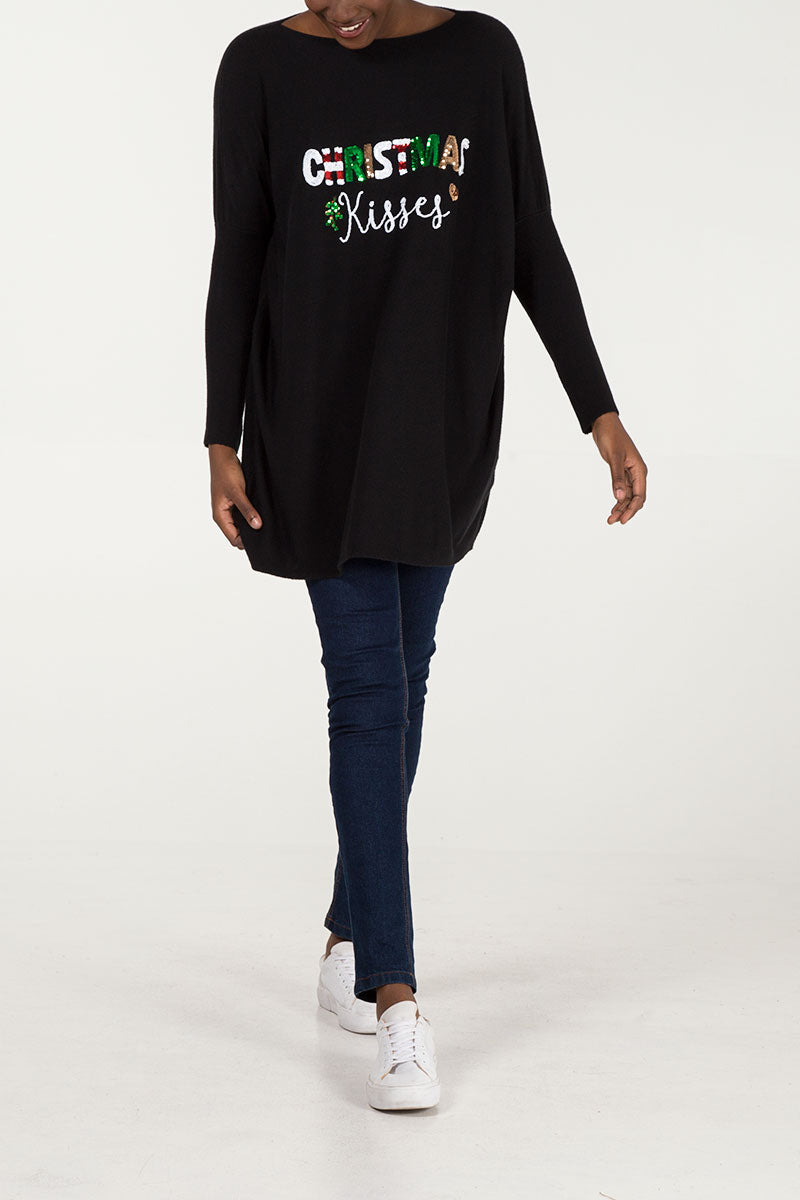 Christmas Kisses Oversized Batwing Jumper