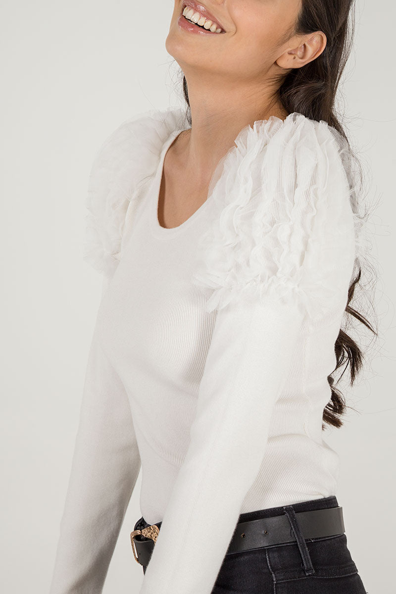 Mesh Ruffle Shoulder Jumper