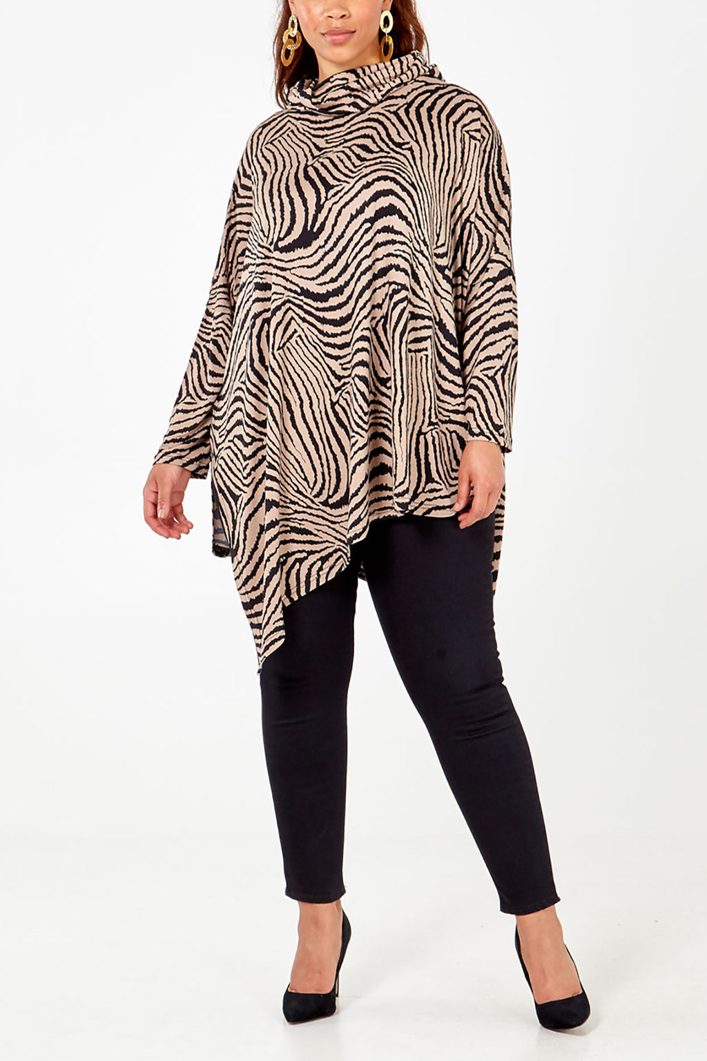 Curve - Abstract Zebra Cowl Neck Top
