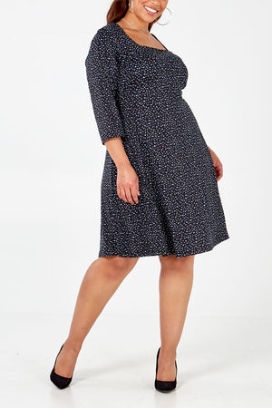 Curve - Square Neck Swing Dress