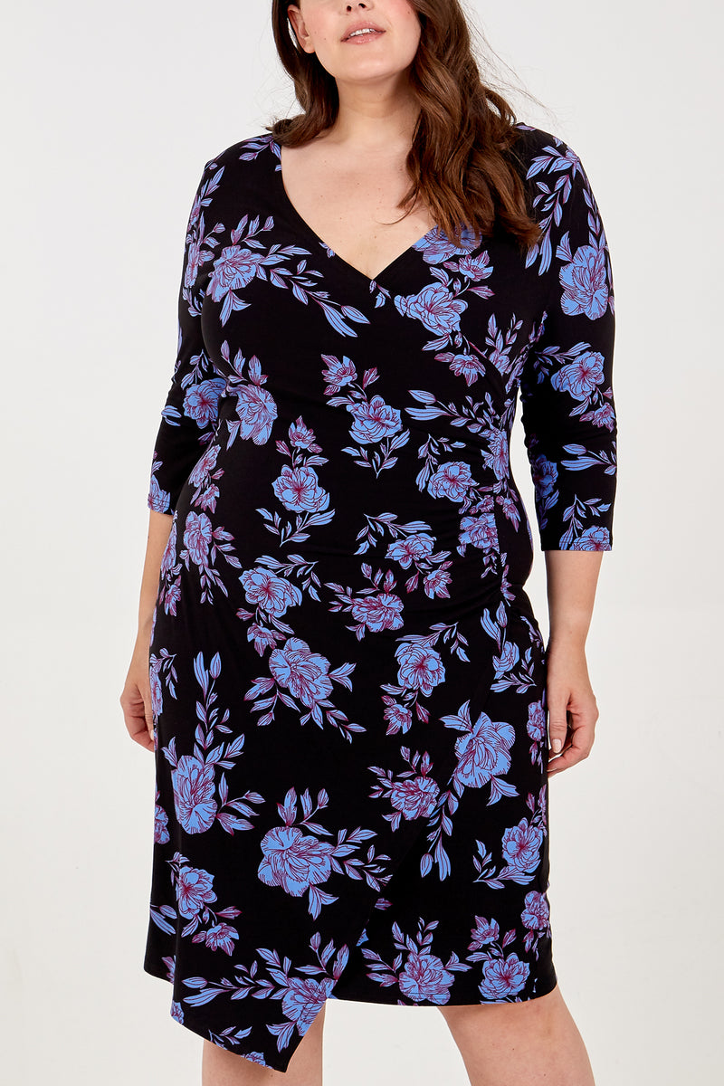 Curve - Floral Side Ruched Dress