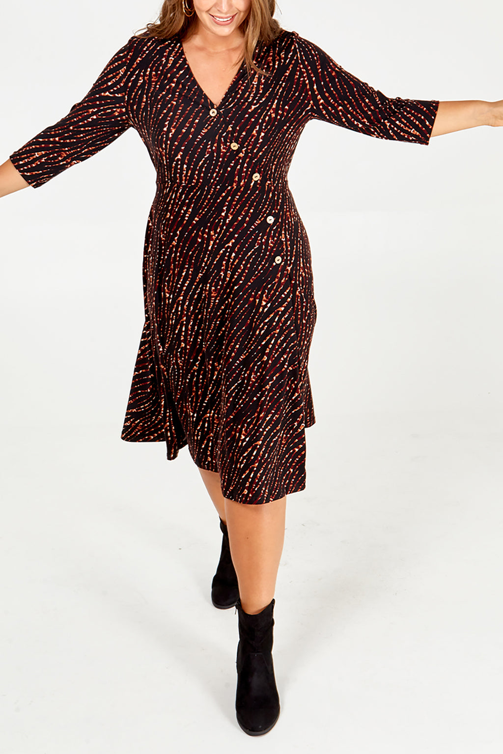 Curve - Zebra Print Midi Wrap Dress