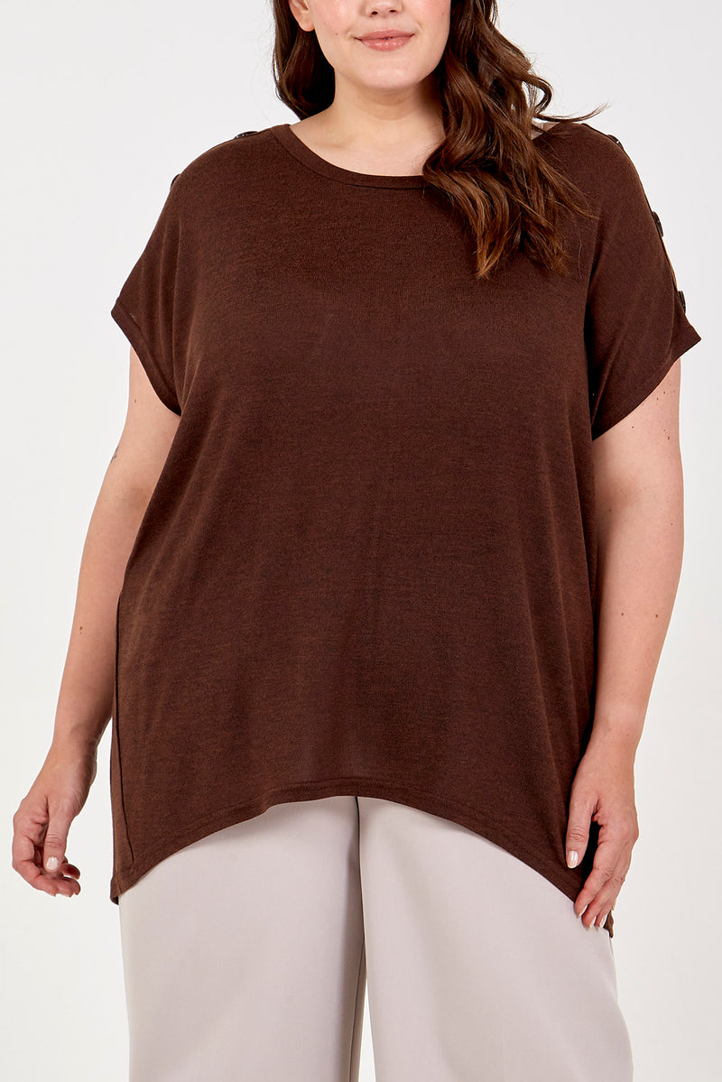 Curve - Short Sleeve Button Shoulder Top