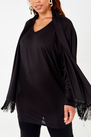 Curve - Fringed Tunic & Scarf Set