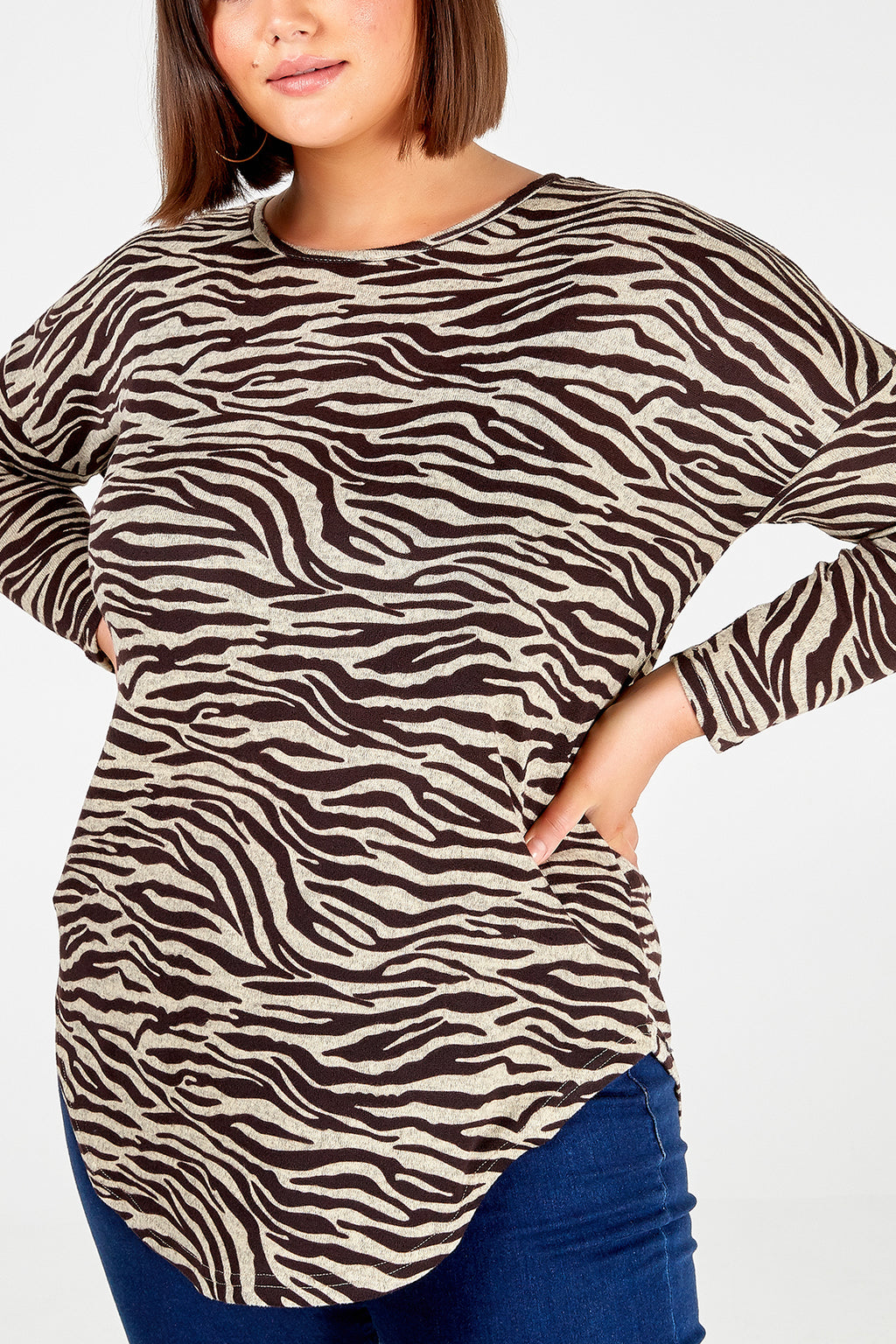 Curve - Zebra Print Zip Back Top