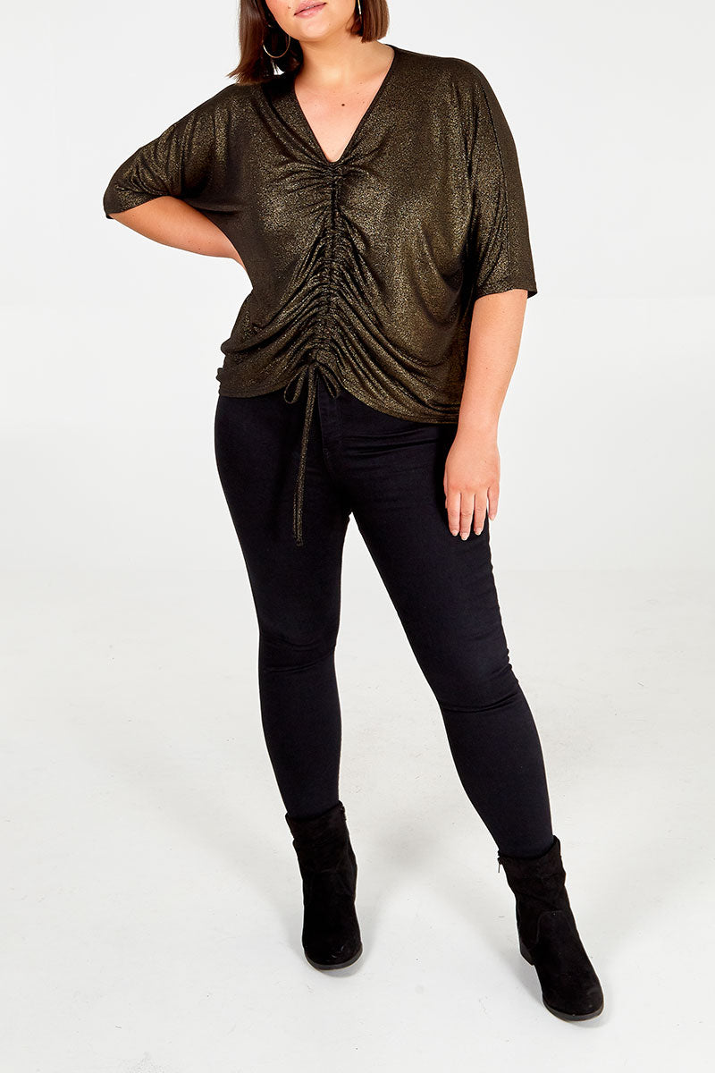 Curve - Gold Ruched Front Top