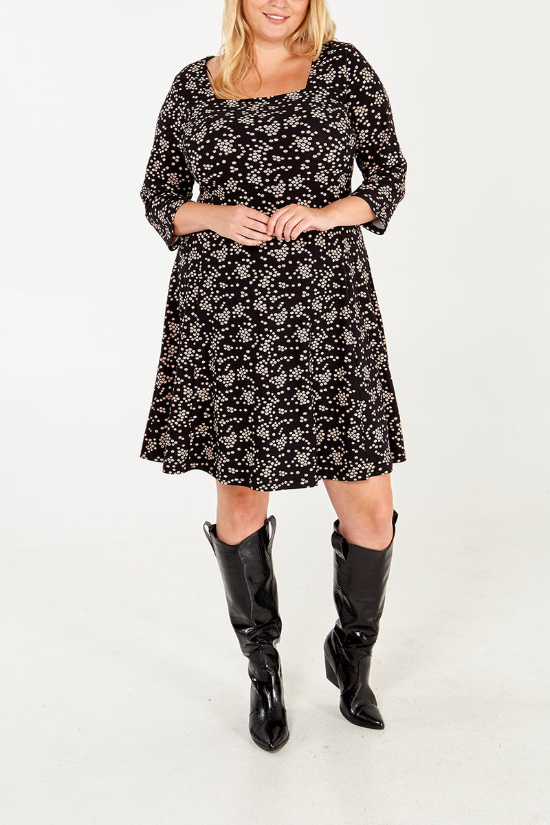Curve - 3/4 Length Sleeve Swing Dress