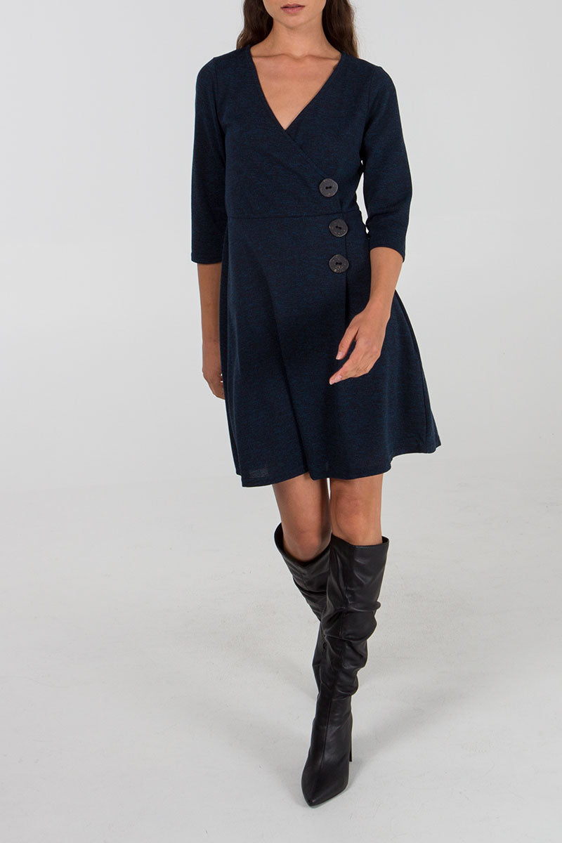 Wrap Front Button Detail Dress