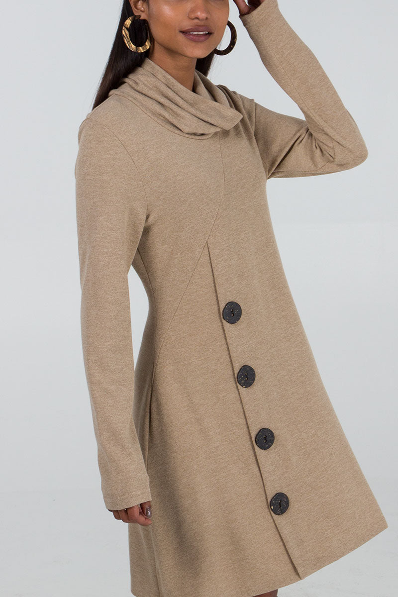Roll Neck Button Detail Dress