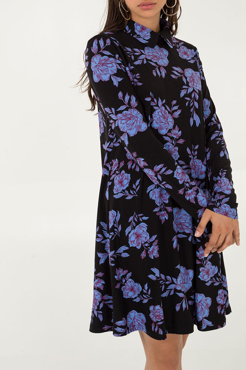 Floral Collar Swing Dress
