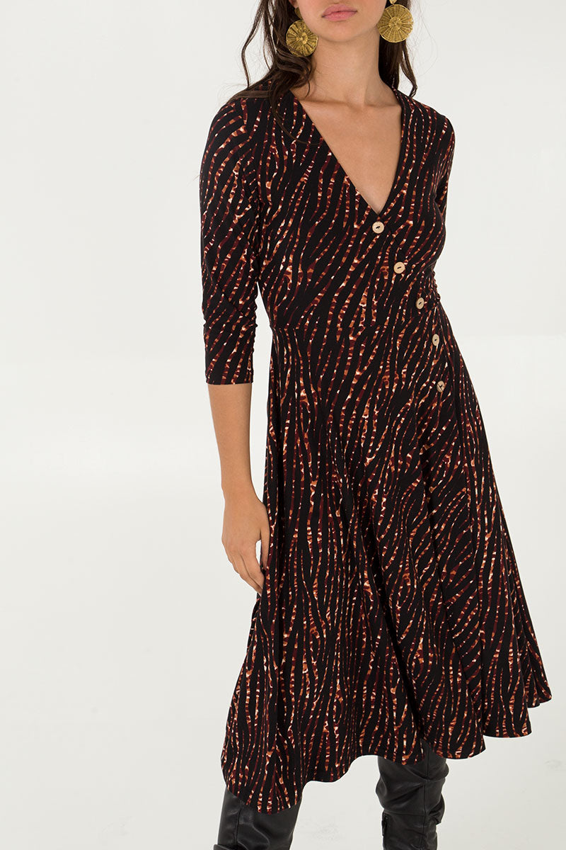 Button Front Midi Wrap Dress