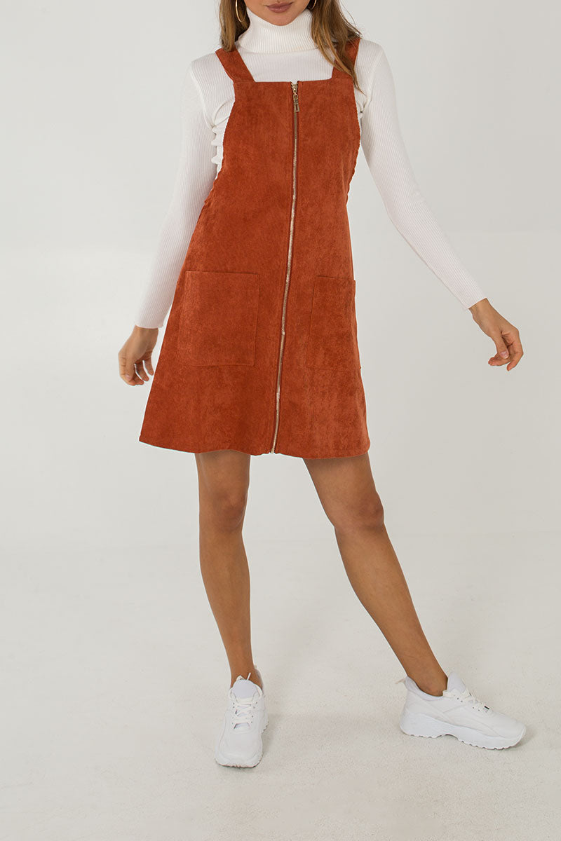 Zip Front Pinny Dress
