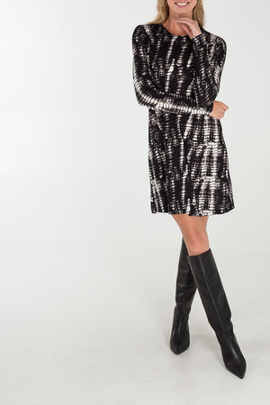 Abstract Print Long Sleeve Swing Dress