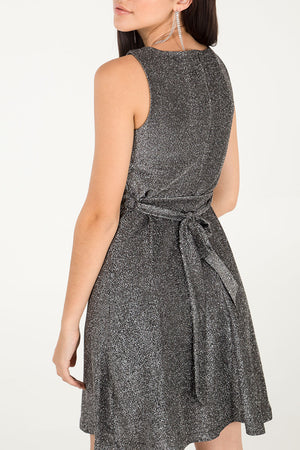 Cowl Neck Fit & Flare Glitter Dress