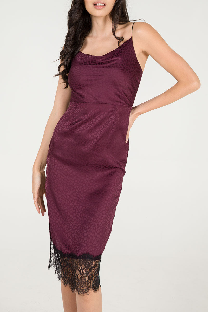 Lace Hem Cowl Neck Dress