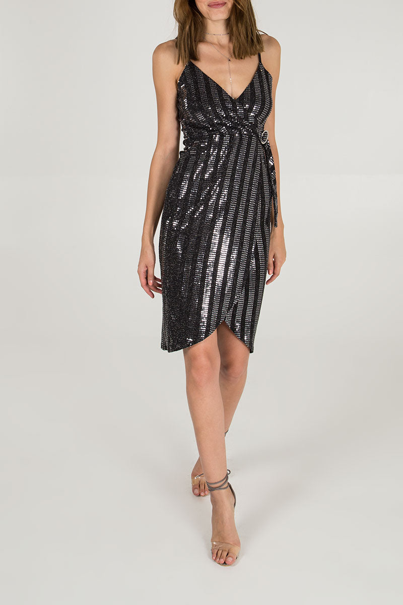 Cami Strap Wrap Front Sequin Dress