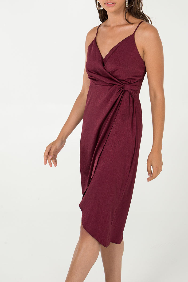 Pleat Detail Cami Strap Wrap Dress