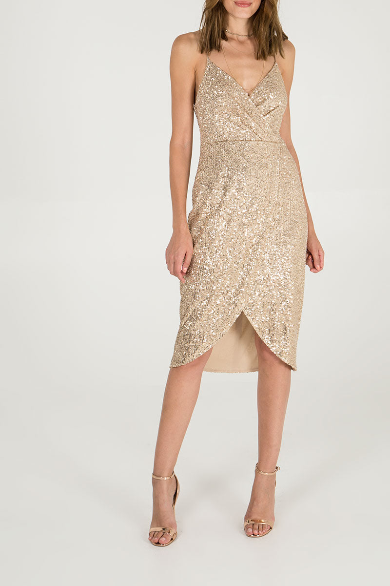 Sequin Cami Strap Wrap Dress
