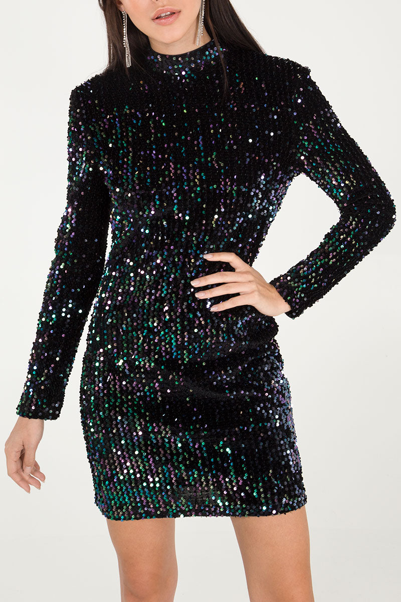 Sequin High Neck Long Sleeve Mini Dress