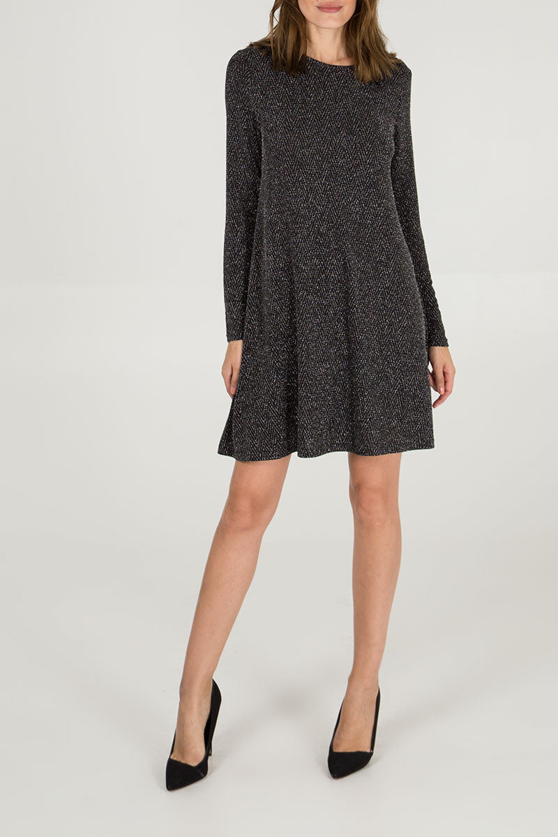 Long Sleeve Lurex Swing Dress