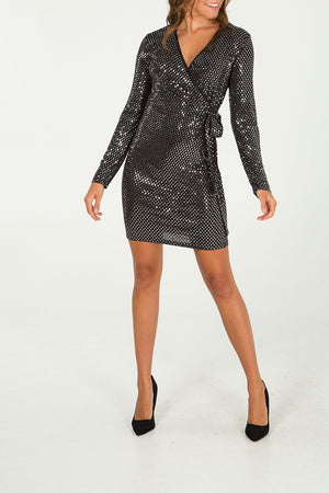 Diamond Wrap Mini Dress