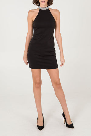 Diamante Trim Halter Neck Dress