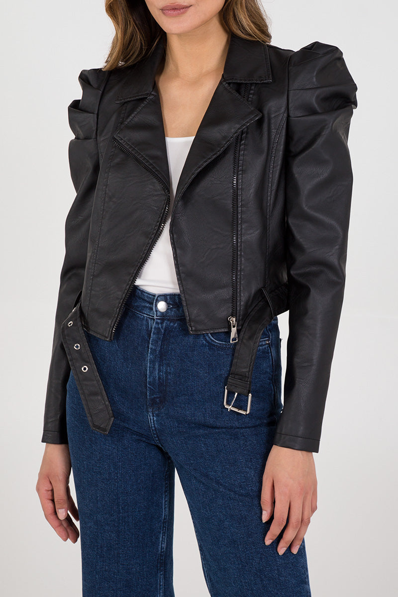 Black Faux Leather Puff Sleeve Biker Jacket