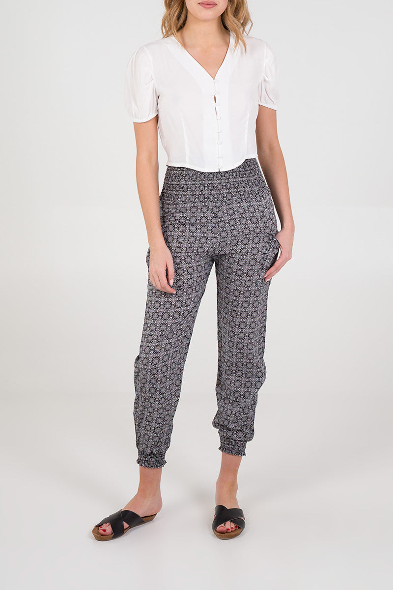 Printed Shirred Waist & Cuff Jogger