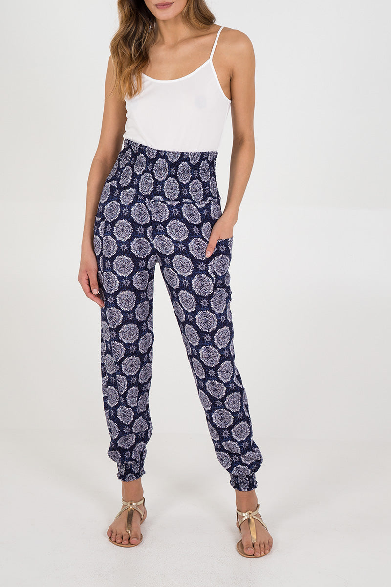 Printed Shirred Waist & Cuff Joggers