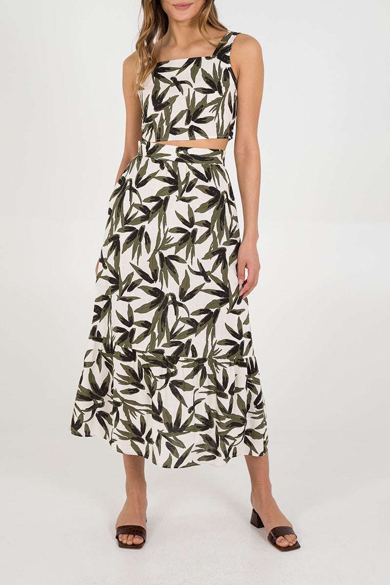 Leaf Print Tiered Midi Skirt & Crop Top Set