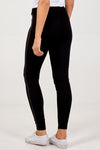 Zipped Pocket Leggings With PU Stripe On The Sides