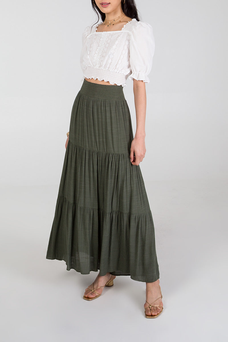 Shirring Waist Tiered Maxi Skirt