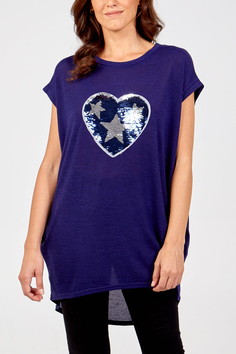 Sequin Heart & Star Two Pocket Top