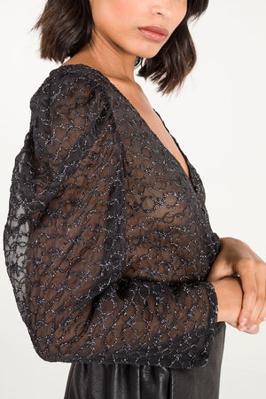 Organza Puff Sleeve Sheer Top