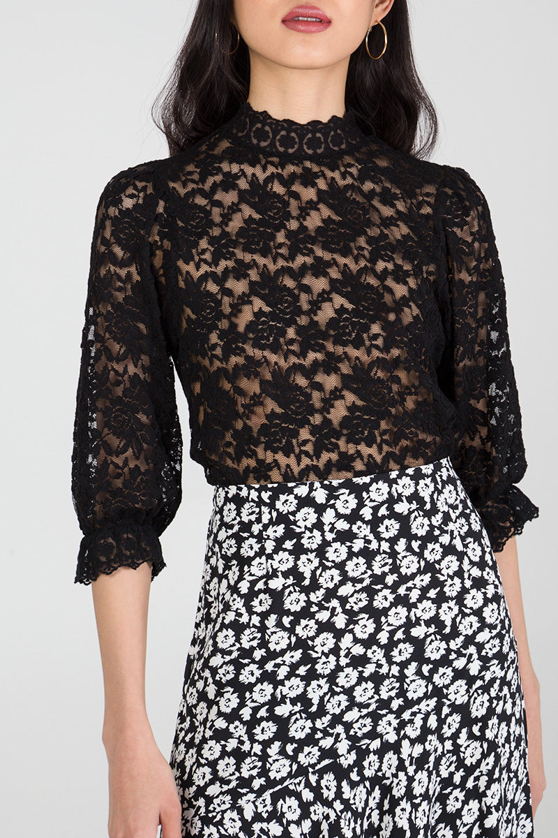 Trimmed Sleeve Lace Top