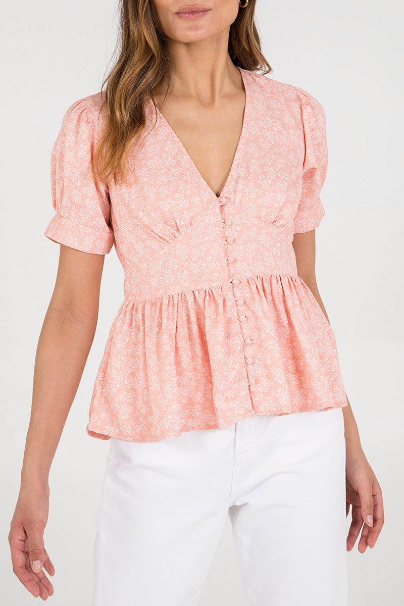 Button Through Puff Sleeve Peplum Top