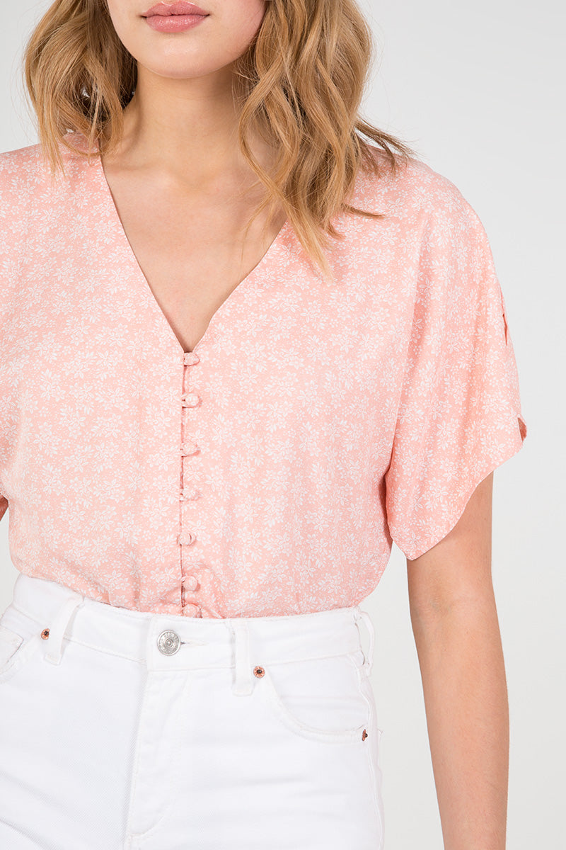 Kimono Sleeve Button Through Bodysuit