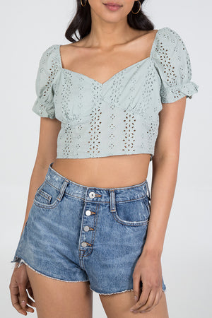 Puff Sleeve Broderie Crop Top