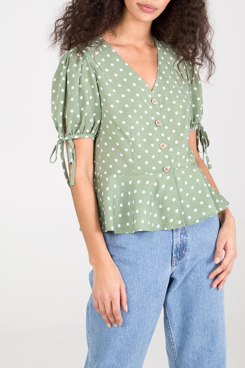 Puff Sleeve Polka Dot Button Detail Peplum Top